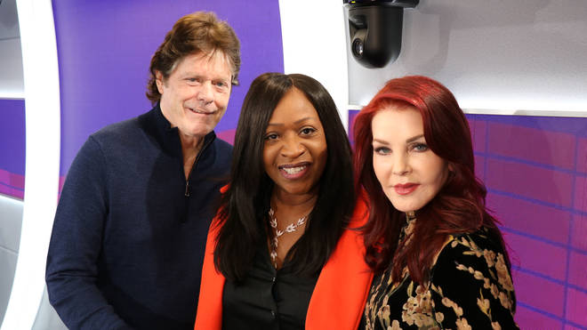 Priscilla Presley and Jerry Schilling with Smooth Radio's Angie Greaves