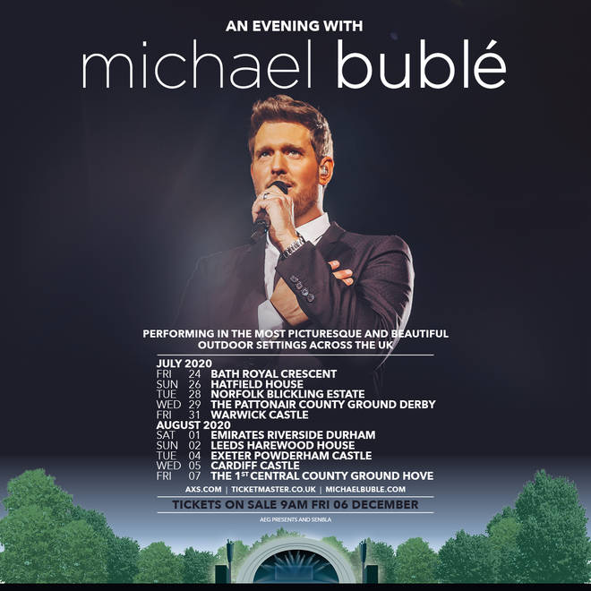 Michael Buble 2020 Christmas Special Michael Bublé announces UK 2020 tour at stunning open air venues
