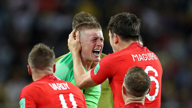 England celebrate penalties win at World Cup