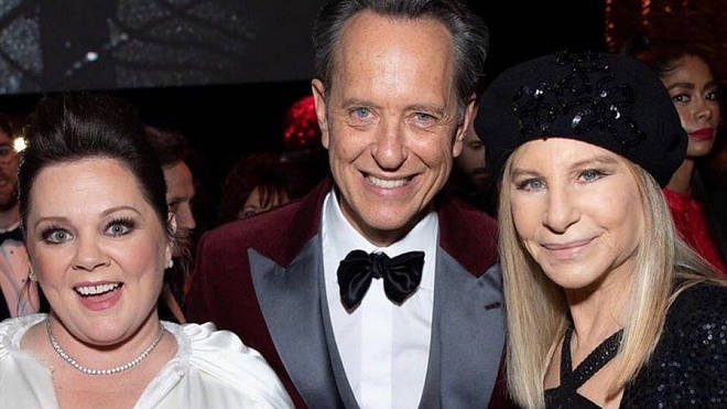 Richard E Grant with Melissa McCarthy and Barbra Streisand