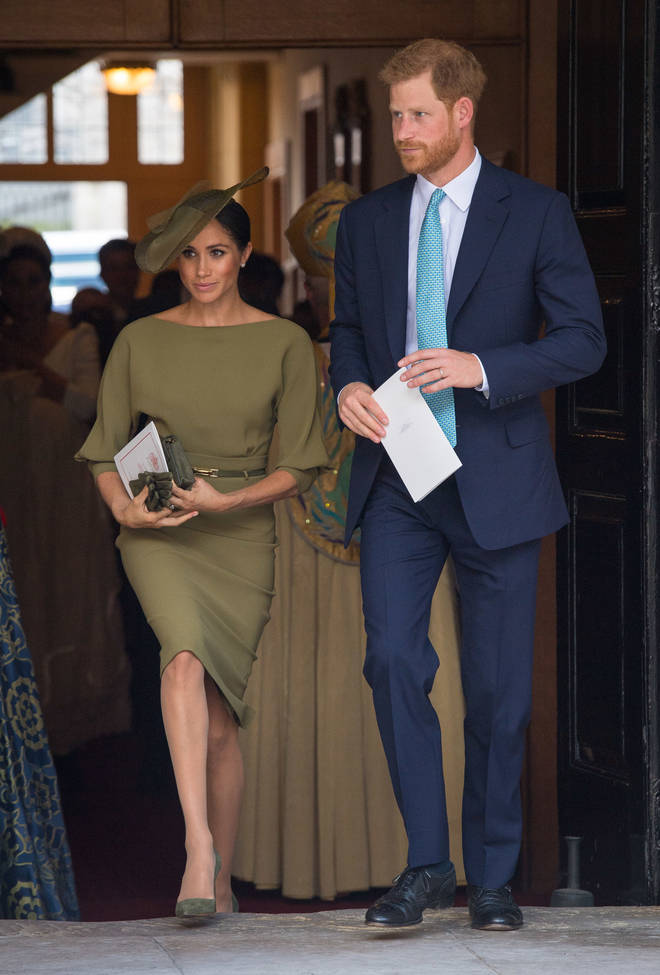 Harry and Meghan at the christening of Prince Louis