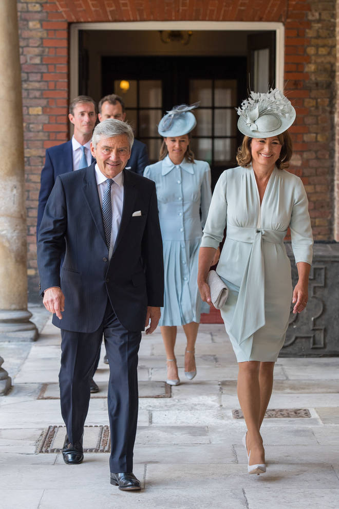 Michael and Carole Middleton arrive at the christening