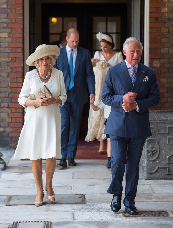 Prince Charles and the Duchess of Cornwall at the christening of Prince Louis