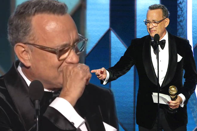 Tom Hanks breaks down in tears during Golden Globes 2020 acceptance speech