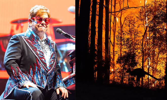 Elton John pledges $1 million to Australian bushfire relief at concert yesterday