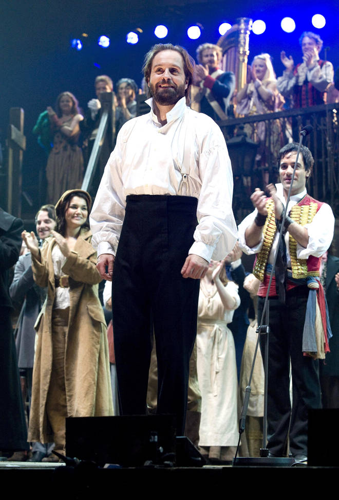 Alfie Boe during the curtain call of the Les Misérables anniversary performance at the O2 in London