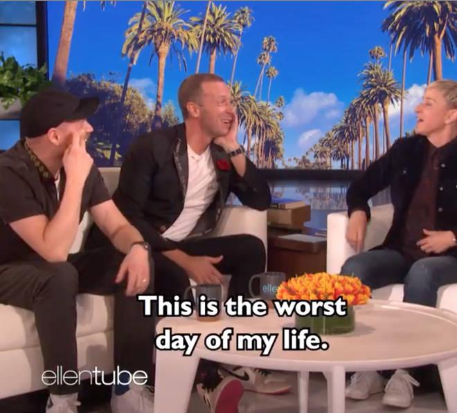 Chris Martin's reaction after Ellen DeGeneres surprised him with the old video