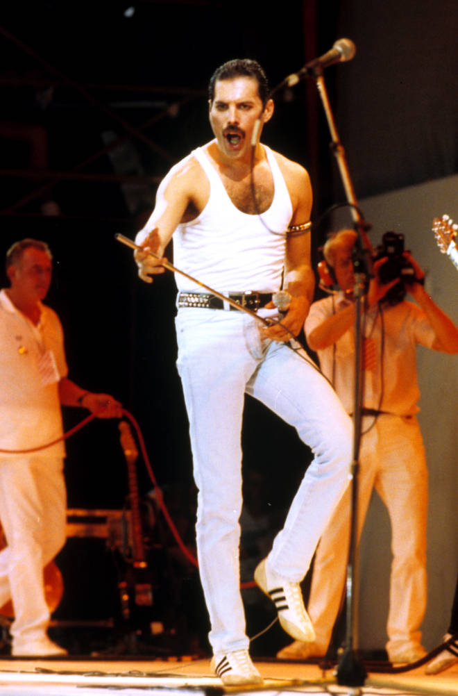 Queen's Freddie Mercury performing at Live Aid