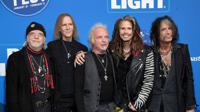 Aerosmith (with drummer Joey Kramer in the middle)