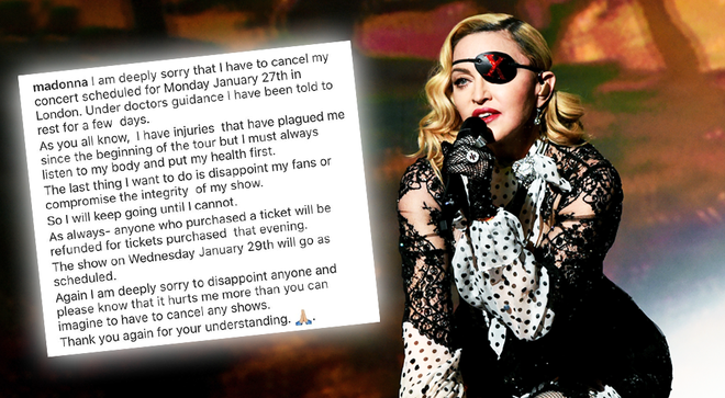 Madonna cancelled her first London show due to injuries