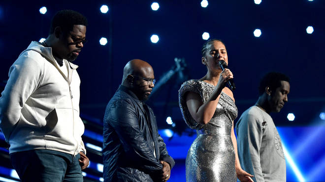 Alicia Keys and Boyz II Men perform a tribute to Kobe Bryant
