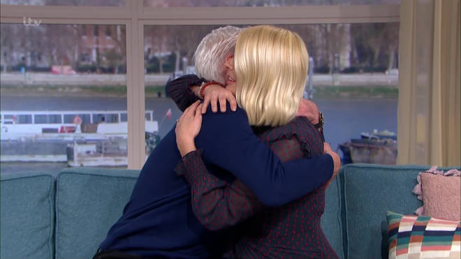 Holly Willoughby hugs Phillip Schofield after his announcement