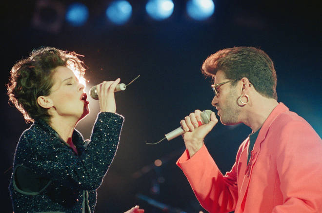 George Michael and Lisa Stansfield performing at the Freddie Mercury tribute concert in 1992. George later said he was singing to Anselmo in the audience.