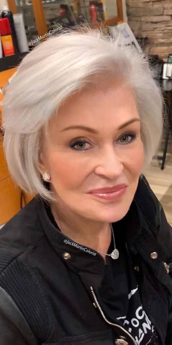 Sharon Osbourne's new white hairstyle
