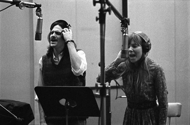 Joni and James recording vocals in 1971