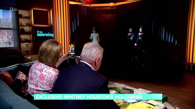 Ruth and Eamonn watch on as the Whitney Houston hologram performs on This Morning