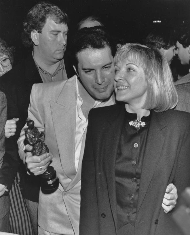 Freddie Mercury and Mary Austin at the Ivor Novello Awards on April 15, 1987