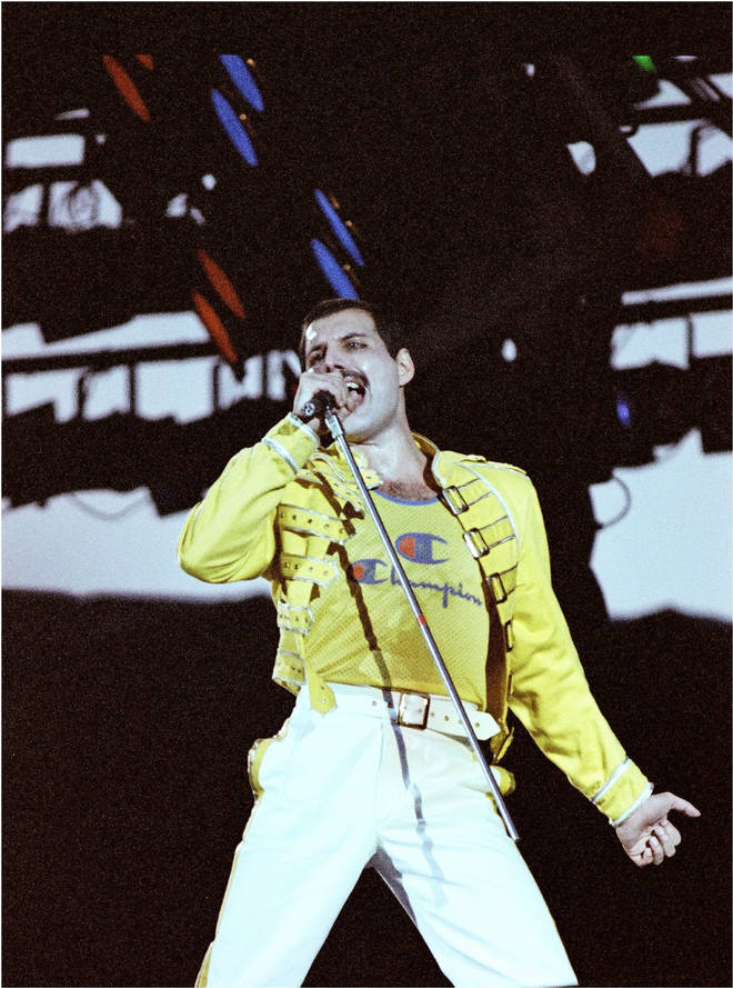 Freddie Mercury performing minutes after the backstage video was shot, live on stage at Knebworth Park