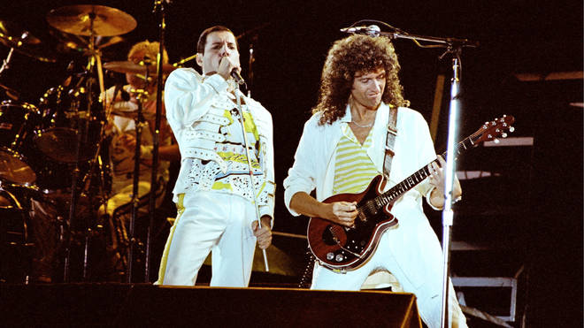 Freddie Mercury and Brian May on stage together at the singer's last ever concert with Queen