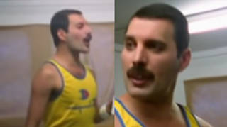 Freddie Mercury is seen wearing his iconic yellow tank top while pacing his dressing room in the minutes leading-up to the start of the huge concert.