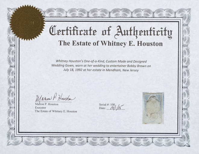The certificate of authenticity for Whitney Houston's wedding dress