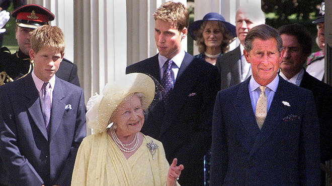 Queen Mother with Harry, William and Charles
