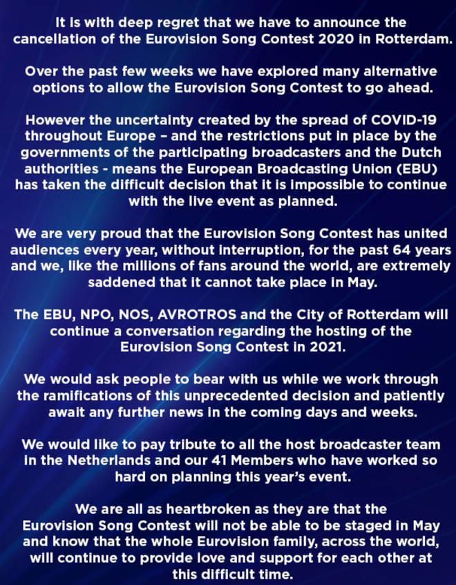 Eurovision's statement