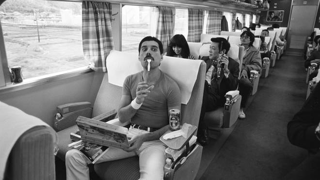 Freddie Mercury of Queen on the Osaka Station platform leaving for Nagoya during the Hot Space Japan tour, Nishinomiya, Japan, 25 October 1982.
