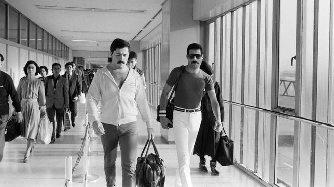 Freddie Mercury of Queen at Fukuoka Airport, on the Hot Space Japan tour, Fukuoka, Japan, 19 October 1982.