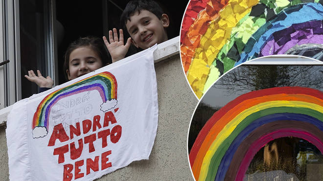 Coronavirus rainbows: Children are putting up their paintings for others to see during outbreak