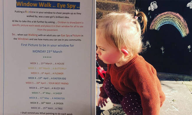 Neighbourhood window walk: Children are putting up pictures for everyone to see