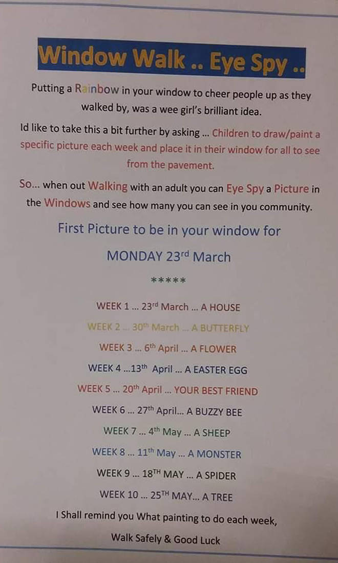 An example of a window walk schedule for children
