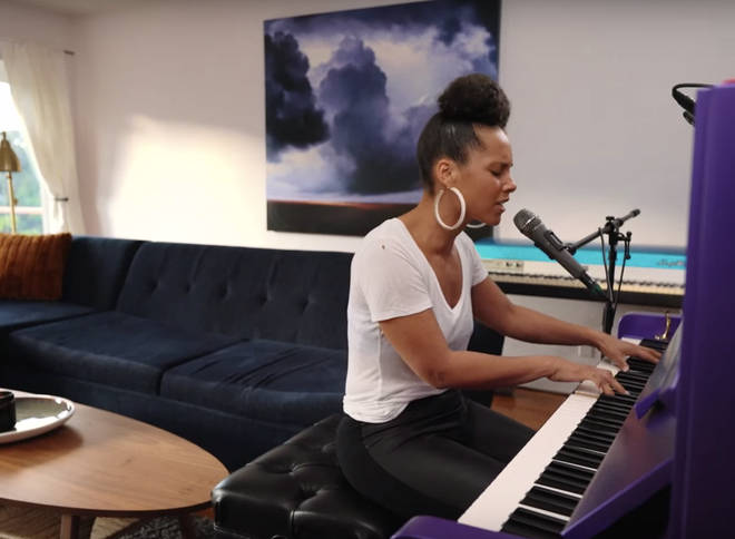 Alicia Keys performing at home for the live concert which was aired last night