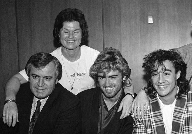 George Michael pictured with (l to r) his father Jack Michael, his mother Lesley Michael and Andrew Ridgeley in 1985