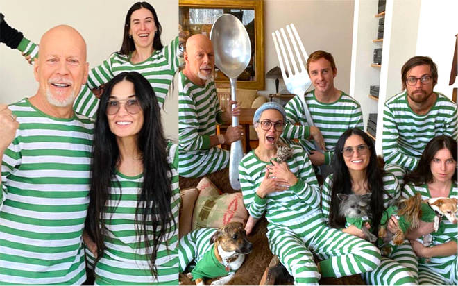 Bruce Willis and Demi Moore wear matching pyjamas as they self-isolate together with their children