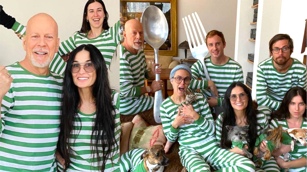 Exes Bruce Willis and Demi Moore wear matching pyjamas as they self-isolate together with children