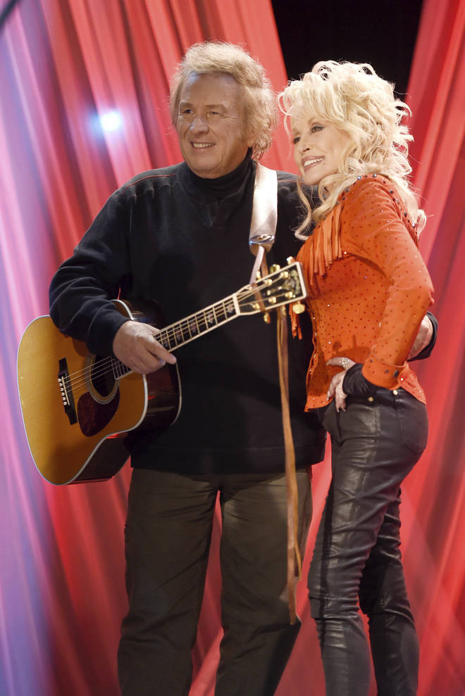 "Don McLean and Dolly Parton at the pre-taping for the ""Dolly Parton's Smoky Mountains Rise: A Benefit for the My People Fund"