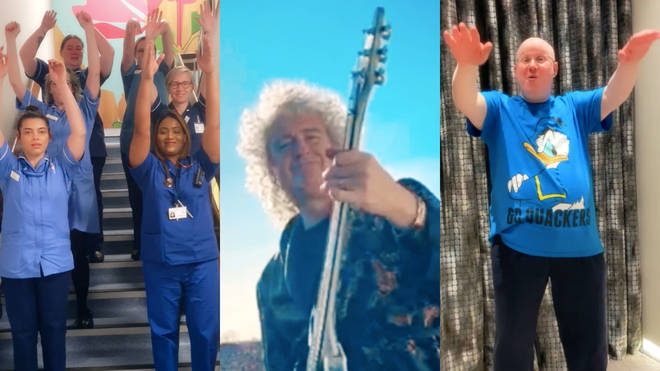 Brian May and Matt Lucas in the video for 'Get Up'