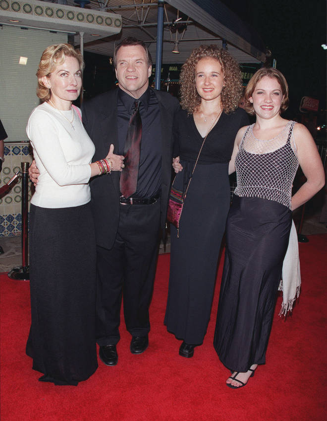 Meat Loaf pictured in 1999 with (L to R) wife Leslie and daughters Pearl and Amanda  Aday
