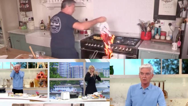 John Torode's towel catches fire on This Morning