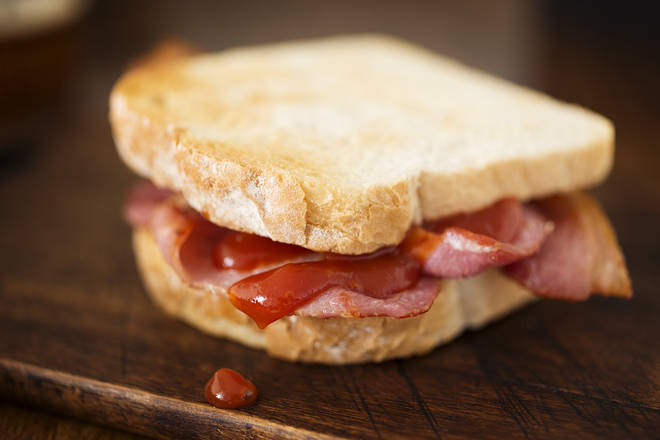 A bacon sandwich came third in the survey of the nation's top snacks during lockdown