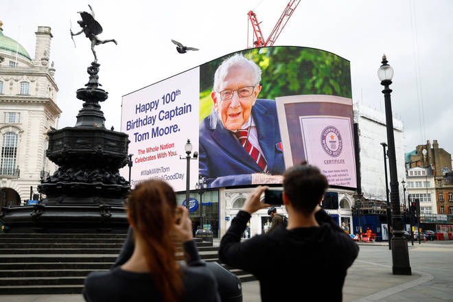 Colonel Tom Moore's birthday wishes from the nation are beamed across Piccadilly Circus