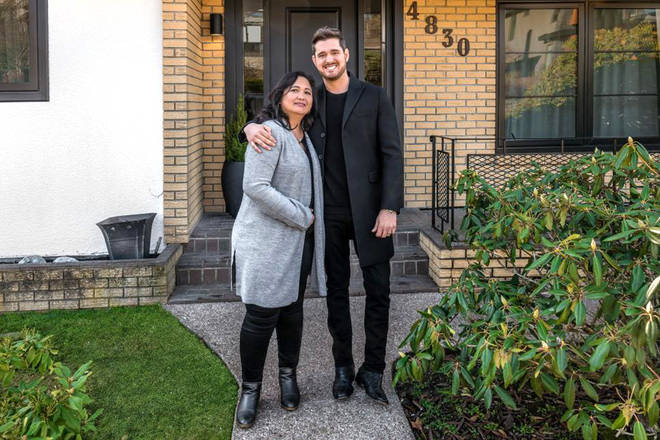 Michael Bublé with Minette outside the house his grandfather built
