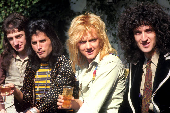 Brian May (far right) in Queen