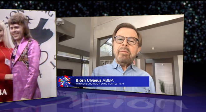 Björn Ulvaeus appearing on the Eurovision: Europe Shine A Light show