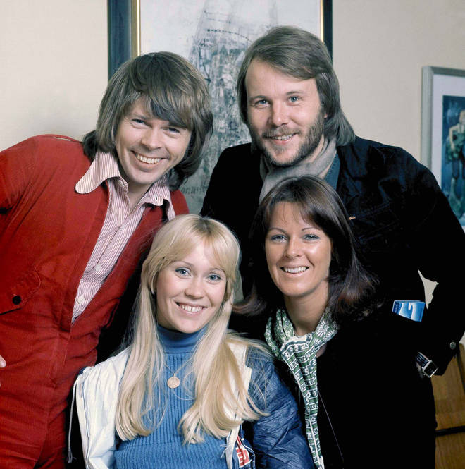 ABBA pose for a group portrait in Stockholm, April 1976