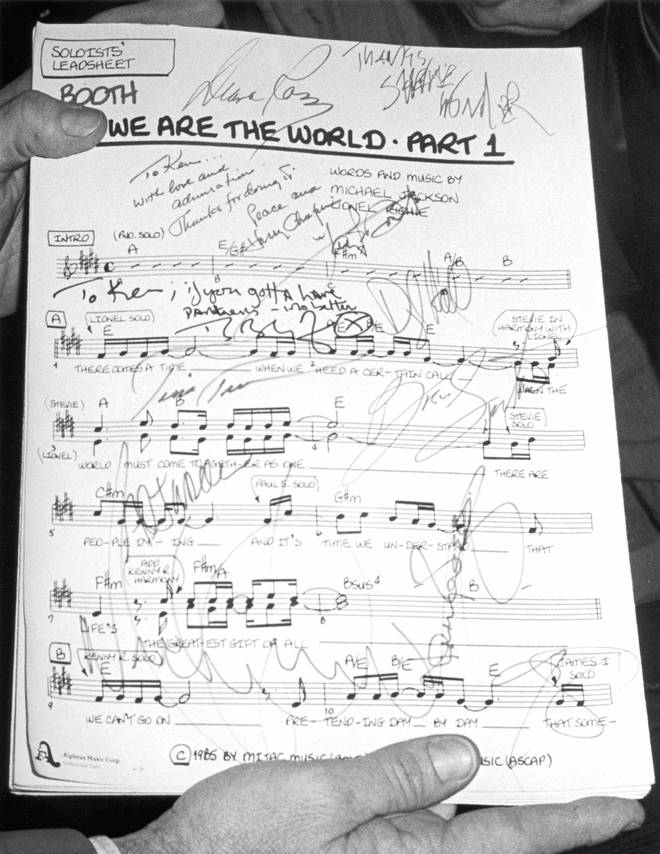 The original lyric sheet for 'We Are The World'