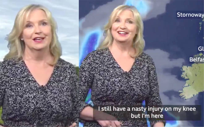 Carol Kirkwood was injured in a bike accident after the weather presenter was hit by a car