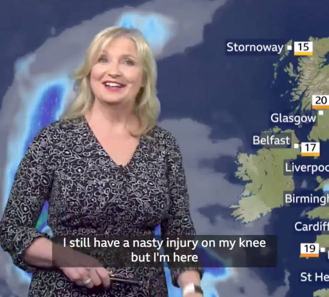 Carol Kirkwood revealed her knee is still injured after her bike accident