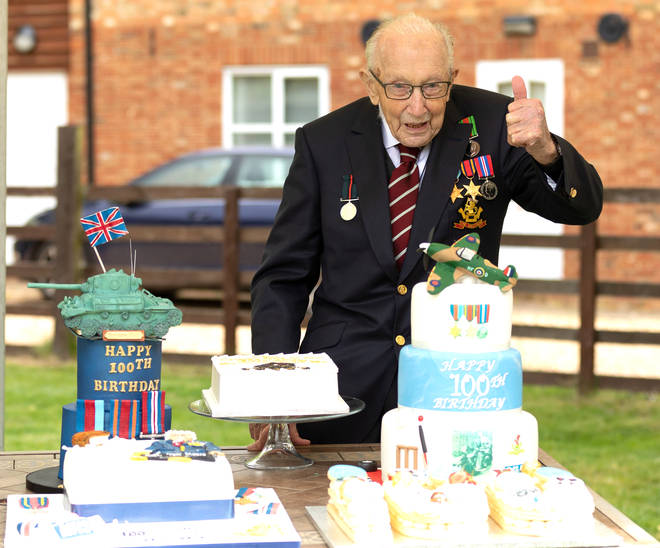 Captain Tom Moore celebrating his 100th birthday